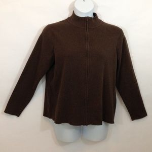 Women's Eddie Bauer Full Zip Brown Cardigan.